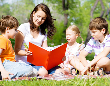 Education by reading outdoors.